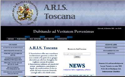 homepage del sito Aris-Toscana
