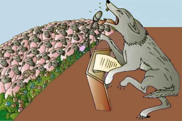 il lupo arringa le pecore