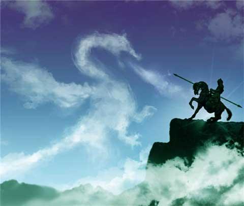 cavaliere contro drago