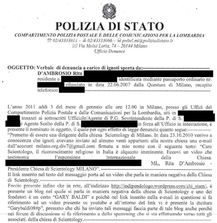 denuncia fatta da Rita D'Ambrosio