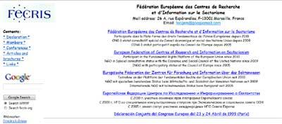 homepage del sito Fecris