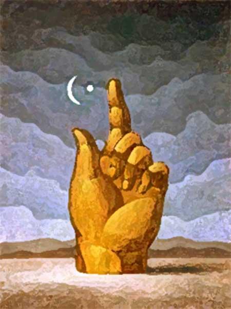 mano che affonda nella sabbia