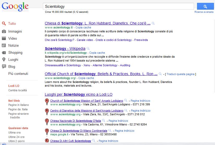 pagina di ricerca Google