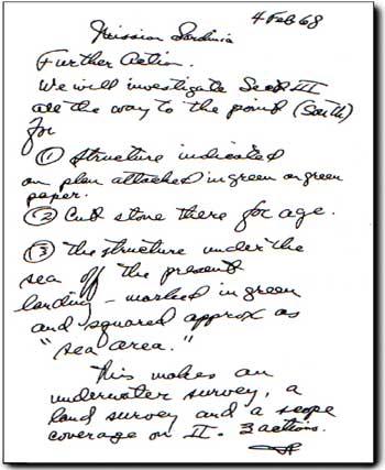 lettera scritta a mano da L. Ron Hubbard in Sardegna