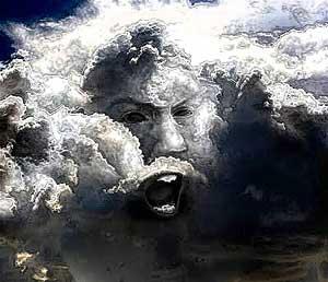 viso di un dio tra le nuvolo