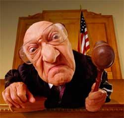 caricatura di giudice che sentenzia