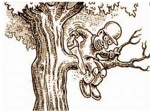 segare il ramo su cui si è seduti