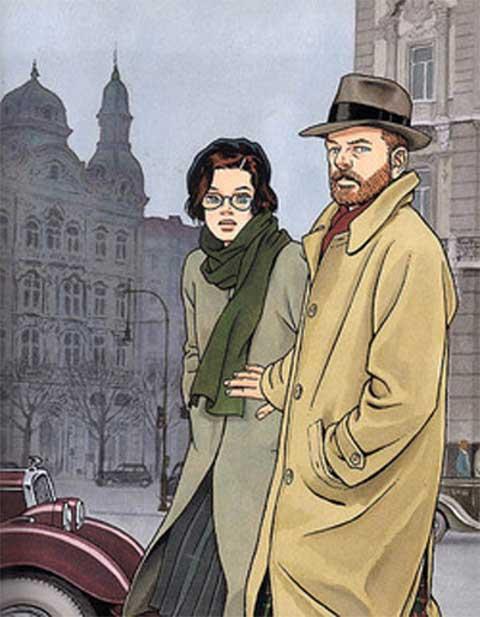 uomo con donna con sfondo piazza