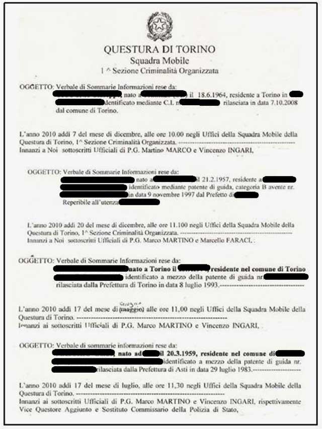 Questura: elenco verbali