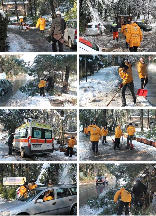 ministri volantari in azione mentre spalano la neve