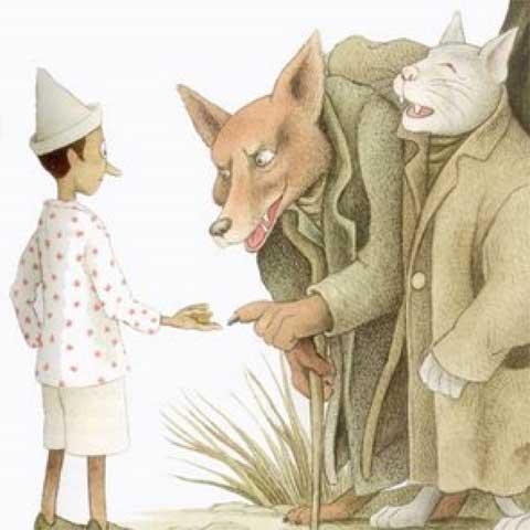Pinocchio con il Gatto e la Volpe
